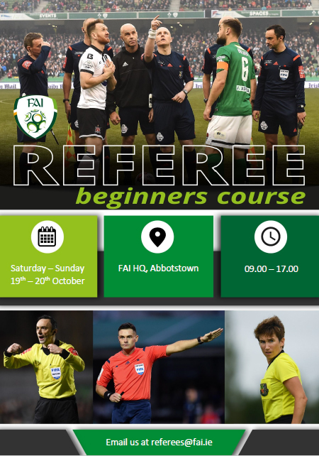 Referees Beginner Course, Dublin, October 2019.
